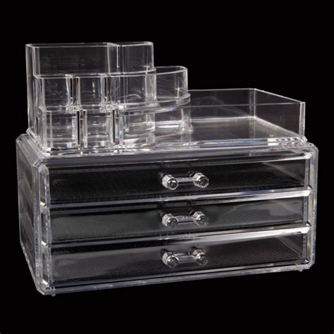 clear acrylic makeup cosmetic organizer drawer
