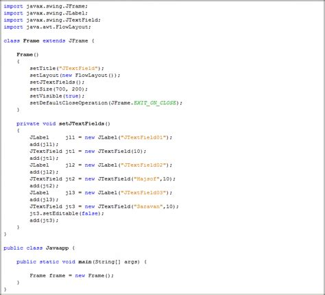 jtextfield in java swing java jtextfield java swing java tutorial