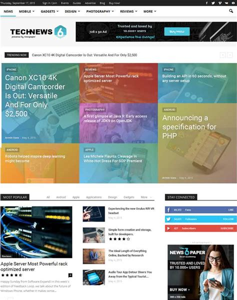 theme newspaper demo 10 best technology blog wordpress themes 2016