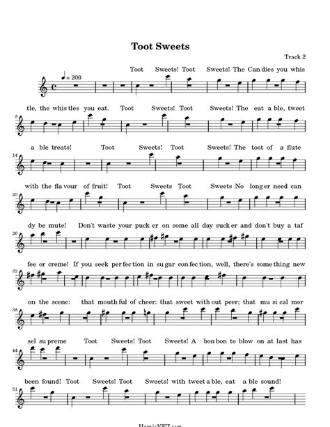Toot Sweets Sheet Music - Toot Sweets Score • HamieNET.com