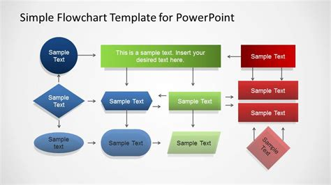 Simple Powerpoint Flowchart Diagram Slidemodel Powerpoint Flow Chart Template