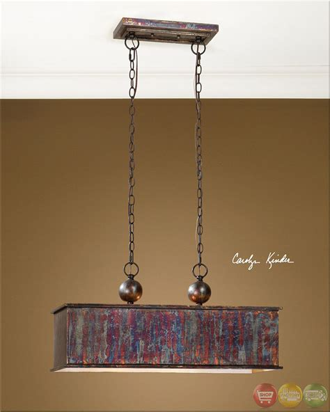 Uttermost Albiano Rectangle 2 Light Pendant Albiano Traditional 2 Light Bronze Pendant 21922