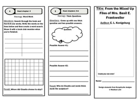 Book Club Worksheets by From The Mixed Up Files Of Mrs Basil E Frankweiler Book