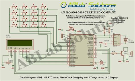 ds1307 circuit diagram ds1307 rtc based alarm clock designing with avr atmega16
