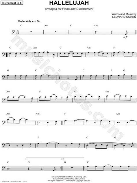 hallelujah bon jovi testo print and hallelujah bass clef instrument sheet