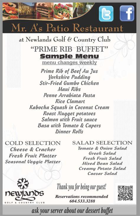 sle menu prime rib buffet