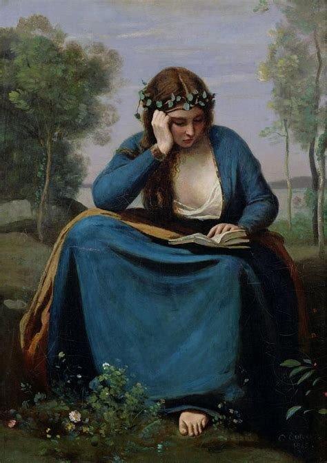 paint reader the reader crowned with flowers by jean baptiste camille corot