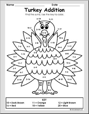 turkey addition coloring page thanksgiving turkey addition thanksgiving addition games