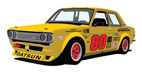 datsun race car quot red farmer quot datsun 510 race car illustration on behance