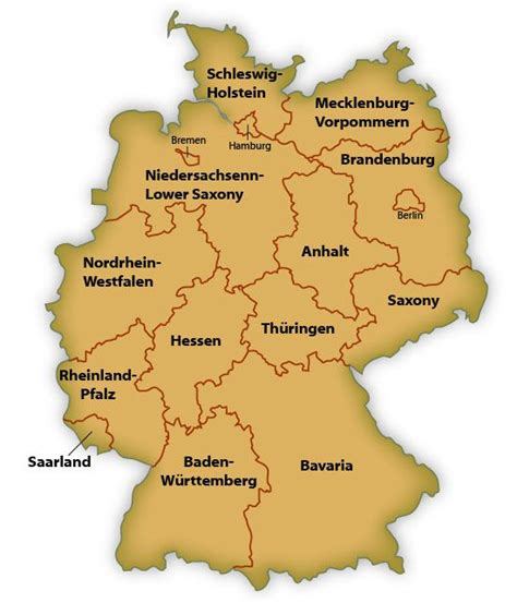 germany state map map of german states