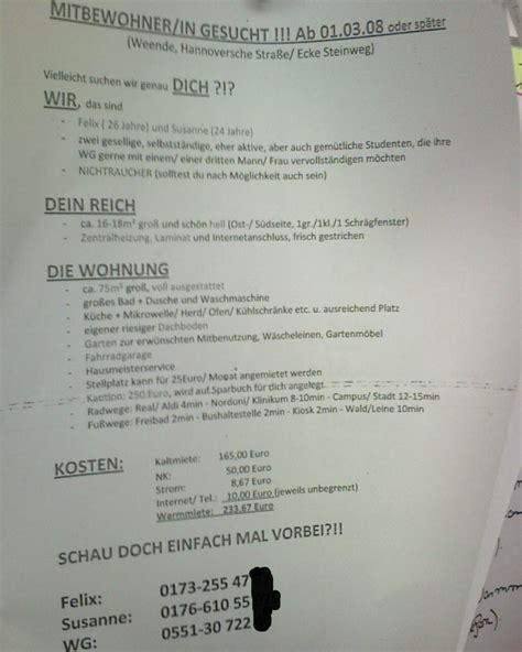 Schreiben Wohnungssuche Muster Masterstudium Studentenleben Und G 246 Ttingen Der Orangere Blick Part 10