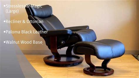 Kursi Magic Jati Teak Magic Chair stressless magic recliner chair and ottoman black leather and brown wood base by ekornes