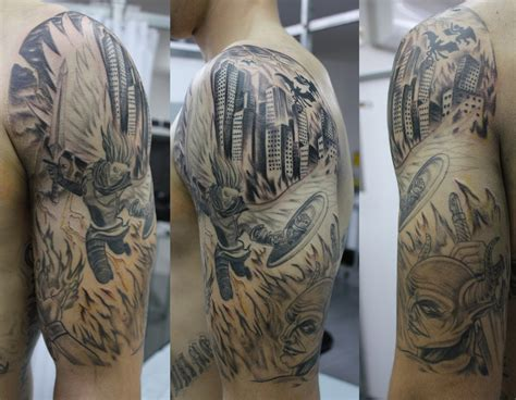 quarter sleeve vs half sleeve tattoo half sleeve angel vs demon tattoo for men tattooshunt com