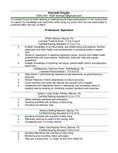 Licensed Practical Sle Resume by Kenny Lpn Resume 2016 Word Document