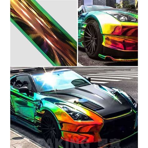 Folie Neo Chrome by Holographic Rainbow Neo Chrome Car Vinyl Wrap Bubble Free