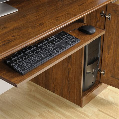 sauder orchard computer desk with hutch in milled cherry sauder 418650 orchard computer desk with hutch