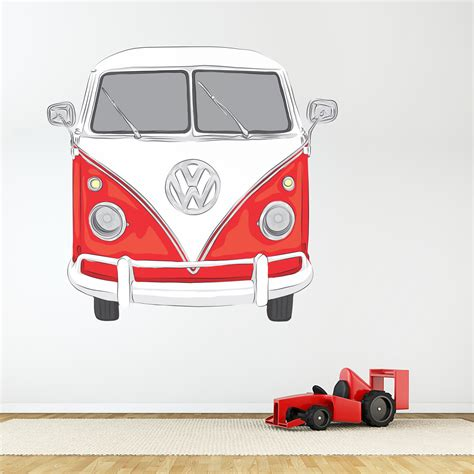 Campervan Wall Stickers classic vw bus printed wall decal