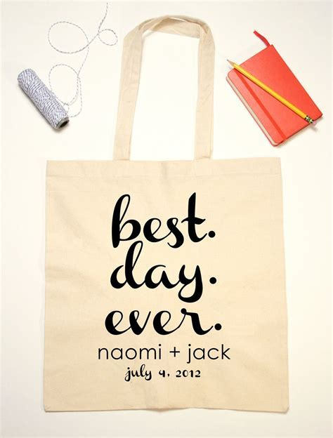 Tote Bag Wedding Favor Best Day Ever Quote by
