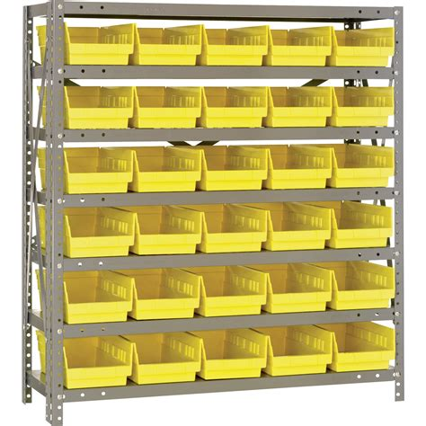 Rack It Shelving System by Quantum Storage Steel Shelving System With 30 Bins 36in
