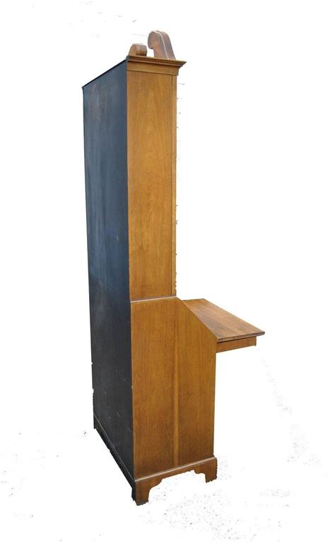 chippendale style narrow writing desk with bookcase top by