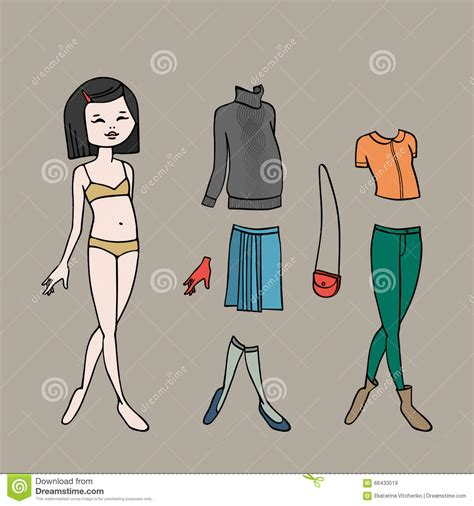 Vector Cute Dress Up Paper Doll Vector Illustration Cartoondealer Com 32917296 Fashion Paper Doll Template