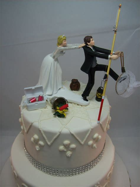 hochzeitstorte angler no fishing come back wedding cake topper and