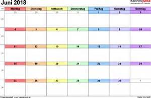 Kalender 2018 Doc Kalender Juni 2018 Als Word Vorlagen