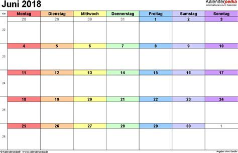 Kalender 2018 Juni Feiertage Kalender Juni 2018 Als Pdf Vorlagen