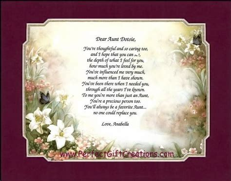 valentines day poems for aunts personalized poem print matted gift