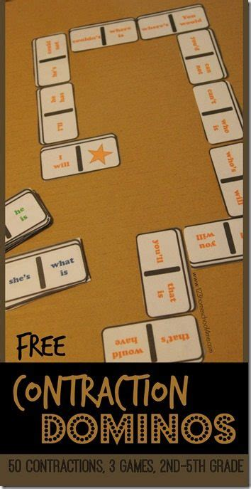 printable contraction games free contraction dominos