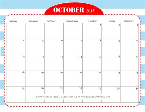 printable free october 2015 calendar free printable october 2015 calendars