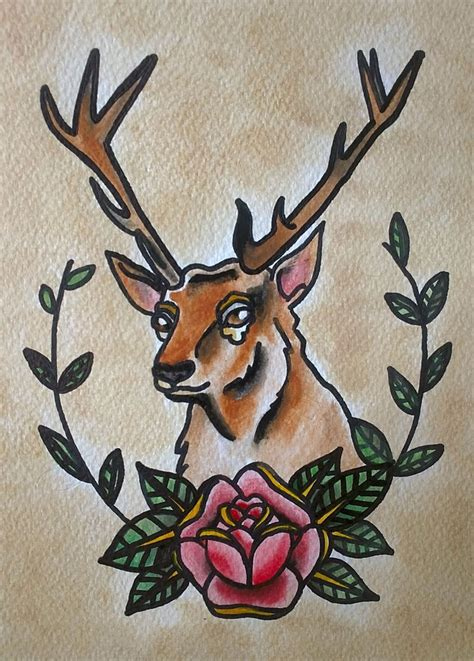 traditional deer tattoo traditional deer by psychoead on deviantart