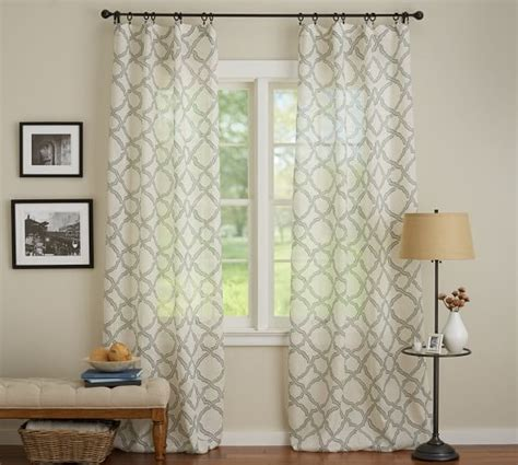 sheer curtains pottery barn kendra sheer trellis pole pocket drape 50 x 96 quot gray