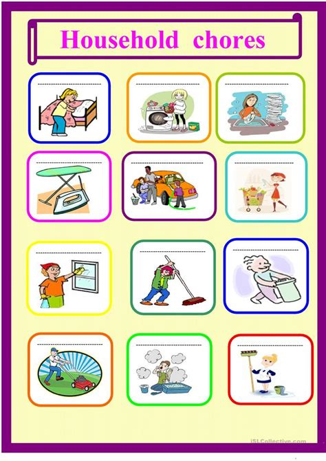 household needs household chores for young learners worksheet free esl