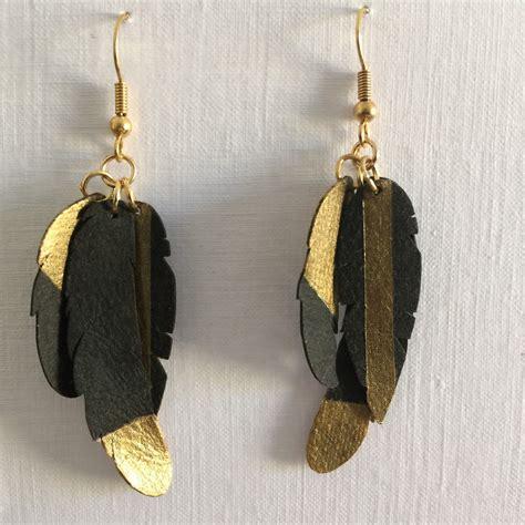 Faux Leather Earring silhouette uk faux leather feather earrings