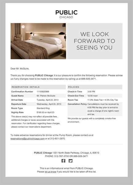 Hotel Confirmation Email Exle Of Hotel Reservation Confirmation Email Digital Hotel Reservation Confirmation Email Template
