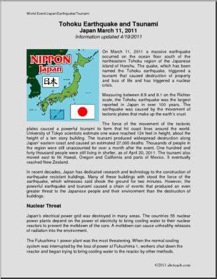 Tsunami Worksheets For Middle School by Comprehension Tohoku Earthquake Tsunami 2011