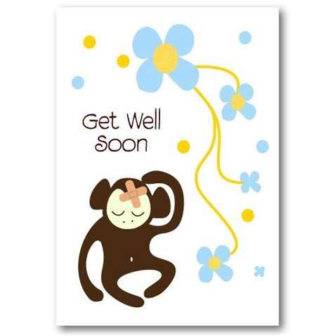 Get Well Gift Cards - quot monkey quot get well soon card not another bunch of flowers