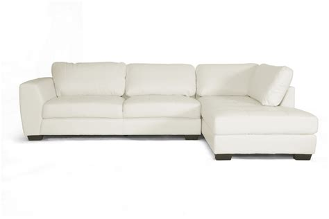 white contemporary leather sofa baxton studio orland white leather modern sectional sofa