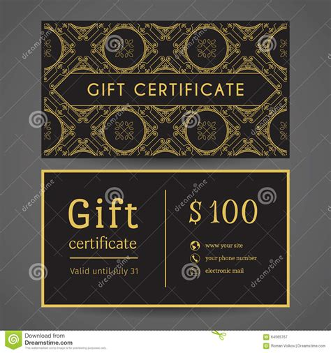 vintage gift certificate template vintage gift certificate stock vector image 64565767