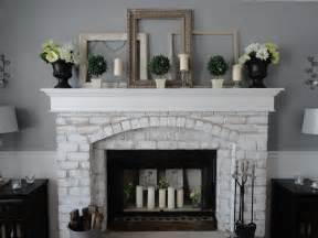 pretty painted brick fireplace on painted brick fireplace