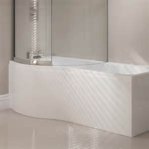 April Bath Shower April P Shape Reinforced Shower Bath With Optional Front