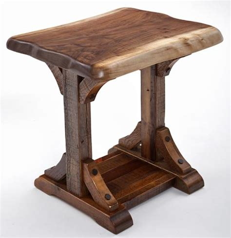 unique rustic side table solid wood live edge reclaimed