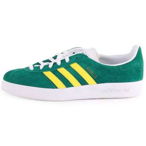 green adidas shoes adidas gazelle indoor womens suede green yellow trainers