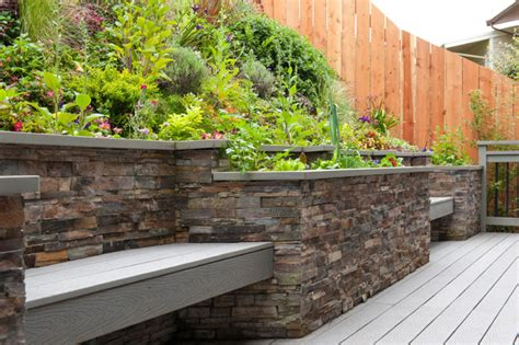 garden retaining wall bench retaining wall and bench contemporary deck other