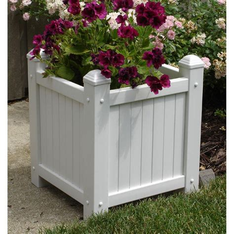 dura trel 14 1 2 in square white vinyl slat planter 11185