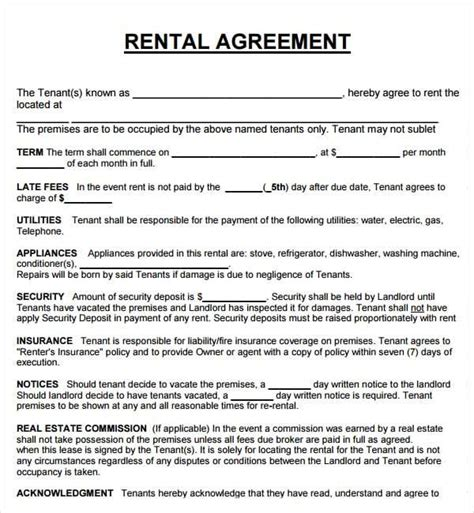 20 Rental Agreement Templates Word Excel Pdf Formats Property Lease Contract Template
