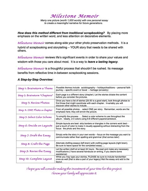 Milestone Memoir Handout And Exles Stepping Stones Blog Writing A Memoir Template