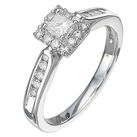 18ct white gold half carat princess cut ring h