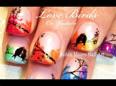 nail art bird tutorial diy love bird nails easy rainbow lovebird nail art